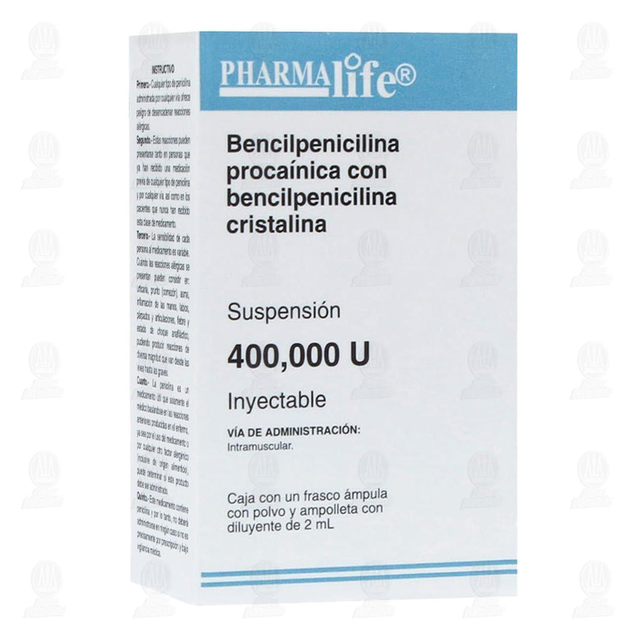 Comprar Bencilpenicilina Procaínica con Bencilpenicilina Cristalina 400,000U Inyectable Pharmalife en Farmacias Guadalajara