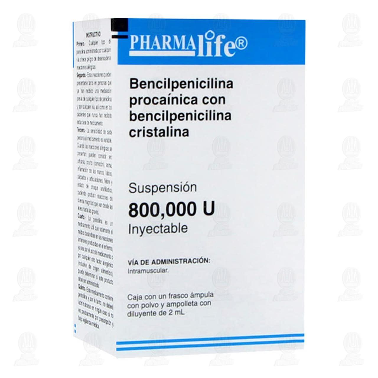 Comprar Bencilpenicilina Procaínica con Bencilpenicilina Cristalina 800,000UI Inyectable Pharmalife en Farmacias Guadalajara