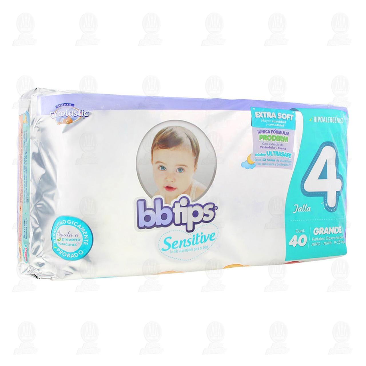 Comprar Pañales para Bebé Bbtips Sensitive Desechables Talla 4 G, 40 pzas. en Farmacias Guadalajara