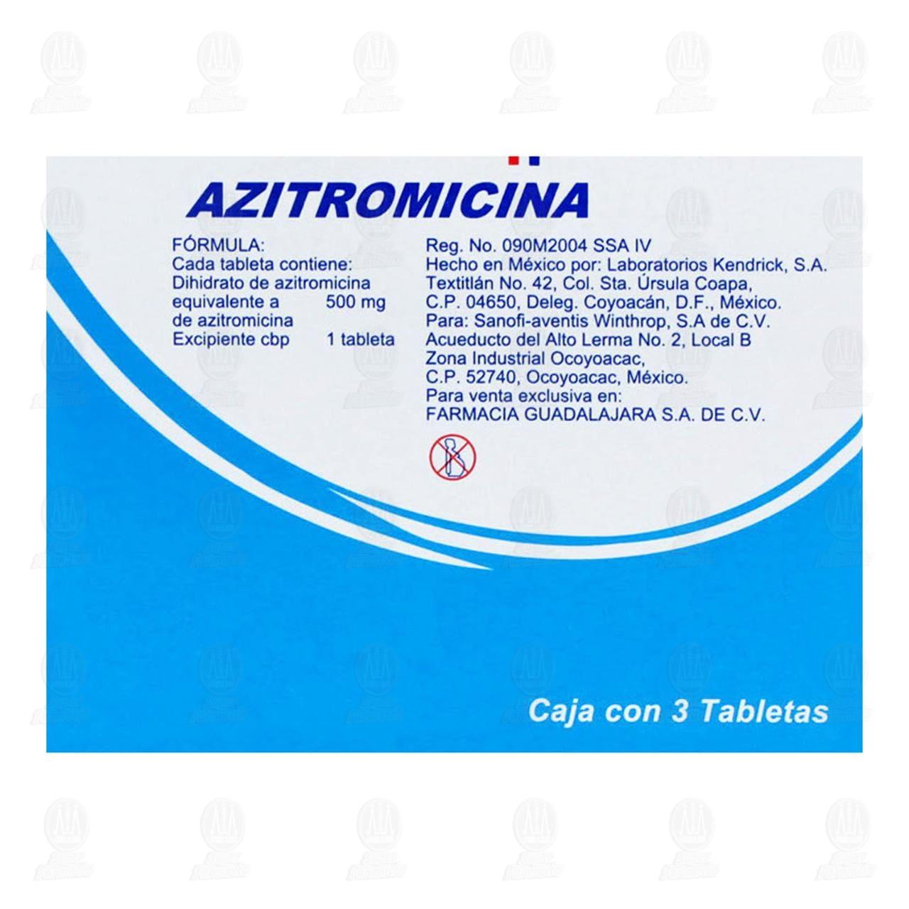 Azitromicina 500mg Tabletas Caja Con 3