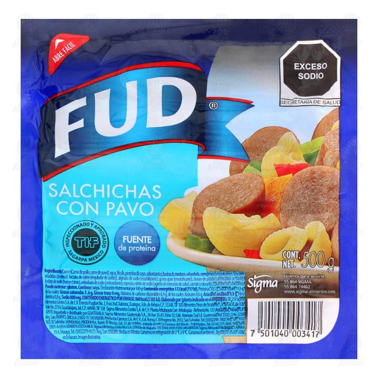 Salchichas Fud de Pavo, 500 gr.