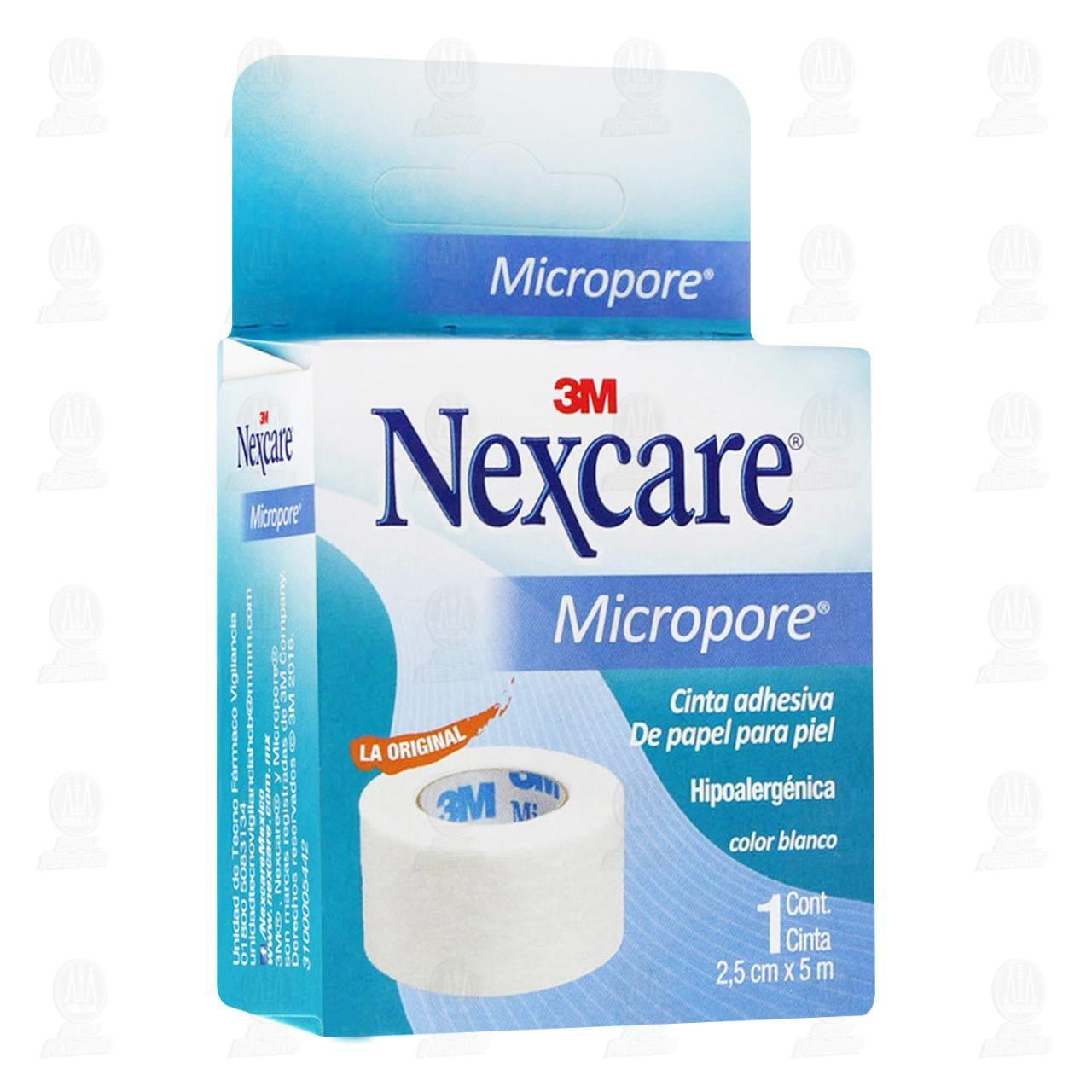 Comprar 3M Nexcare Micropore Cinta Adhesiva 2.5cm x 5m Color Blanco 1pz en Farmacias Guadalajara