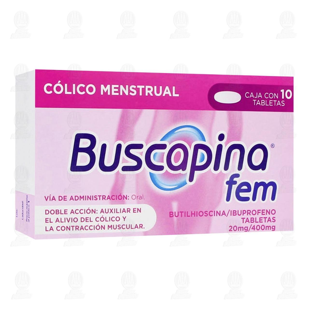 Comprar Buscapina Fem 20mg/400mg 10 Tabletas en Farmacias Guadalajara