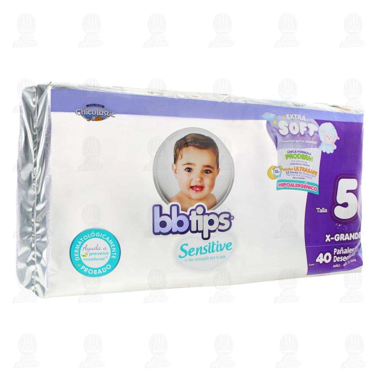 Comprar Pañales para Bebé Bbtips Sensitive Desechables Talla 5 XG, 40 pzas. en Farmacias Guadalajara