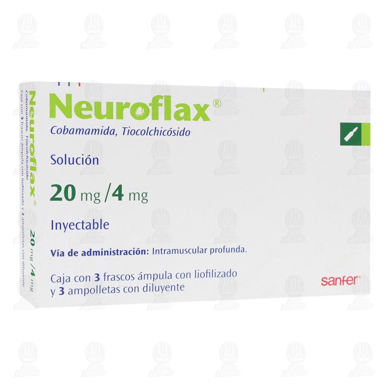 Comprar Neuroflax 20mg/4mg Solución Inyectable 3 Ámpulas 3 Ampolletas en Farmacias Guadalajara