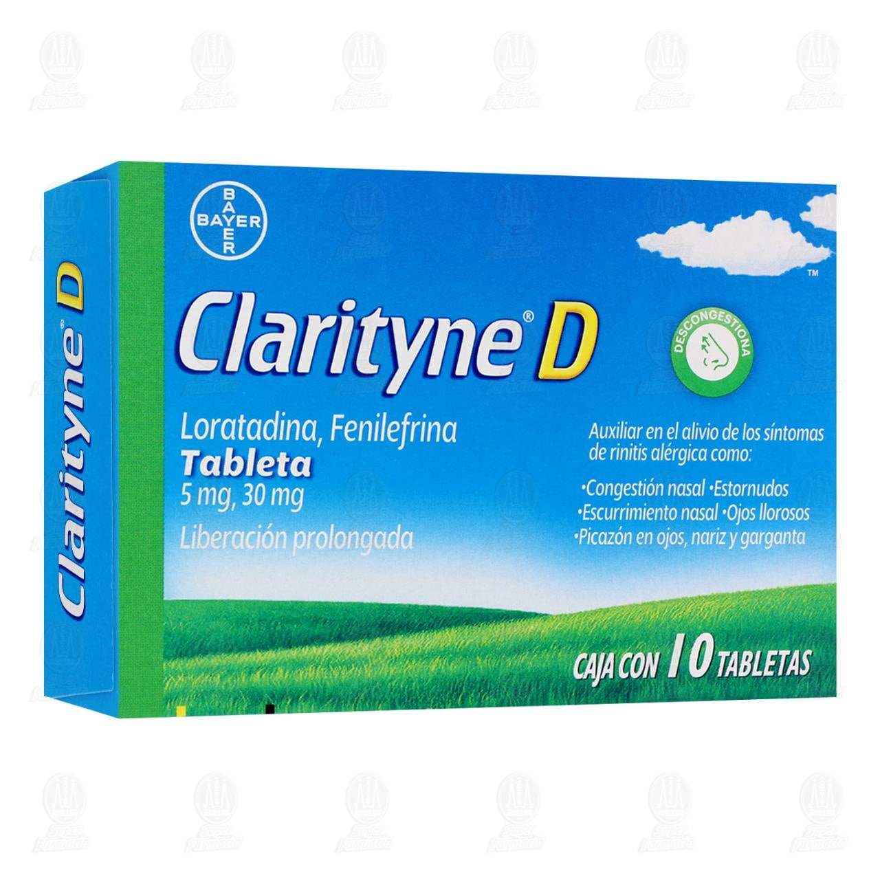 Comprar Clarityne-D Tabletas Antialérgico, Antihistamínico, Alivio de Síntomas de Alergias Loratadina 5mg 10 Tabletas en Farmacias Guadalajara