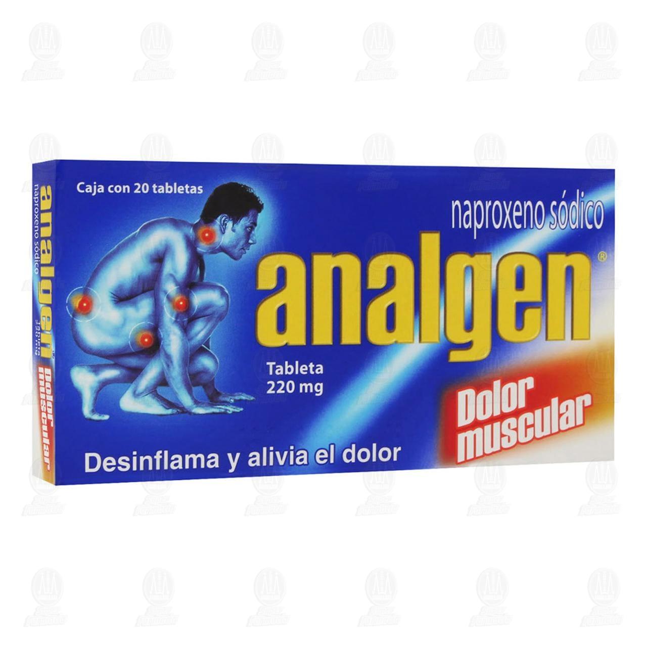Comprar Analgen 220mg 20 Tabletas en Farmacias Guadalajara