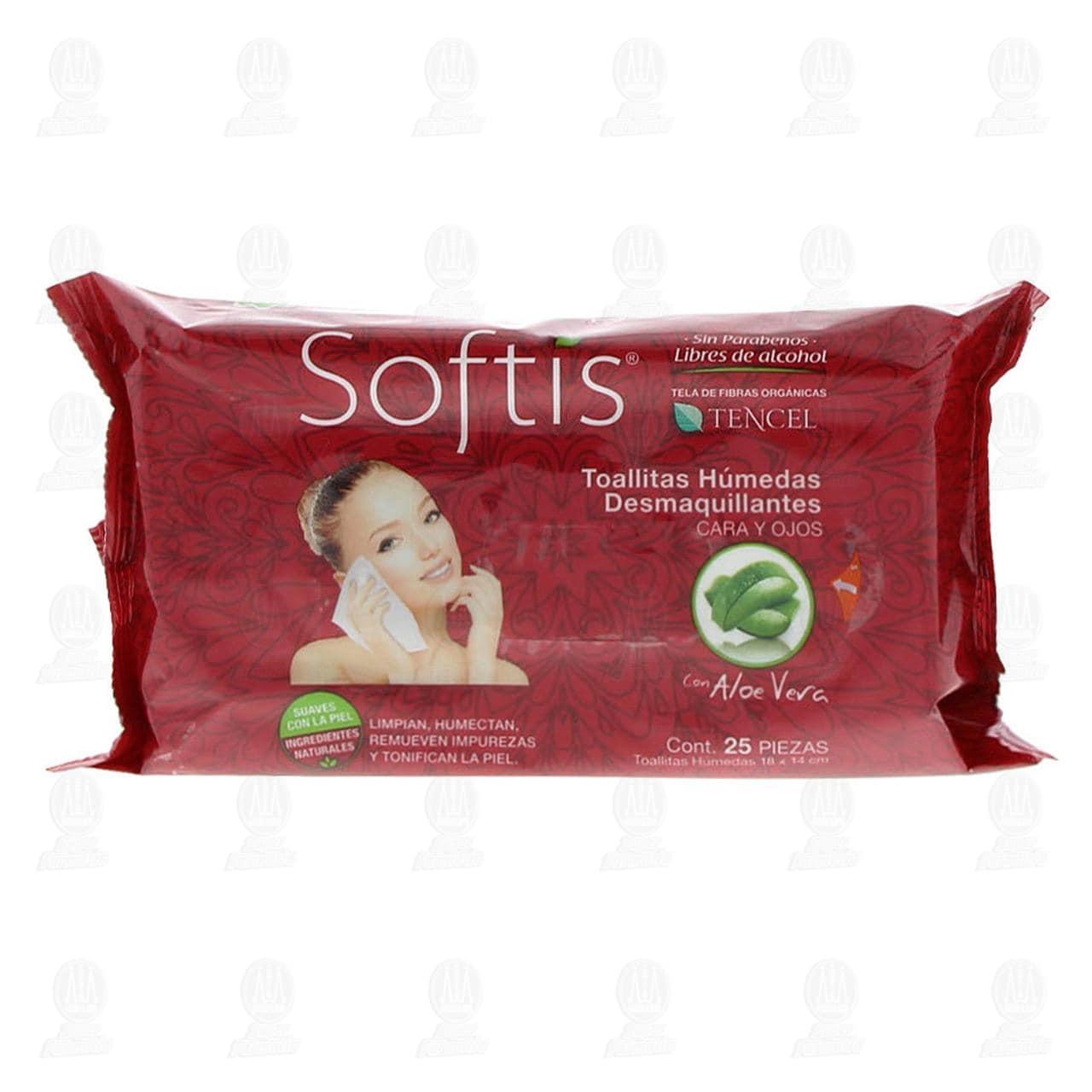 Comprar Toallitas Desmaquillantes Softis con Tela Orgánica y Aloe Vera, 25 pzas. en Farmacias Guadalajara