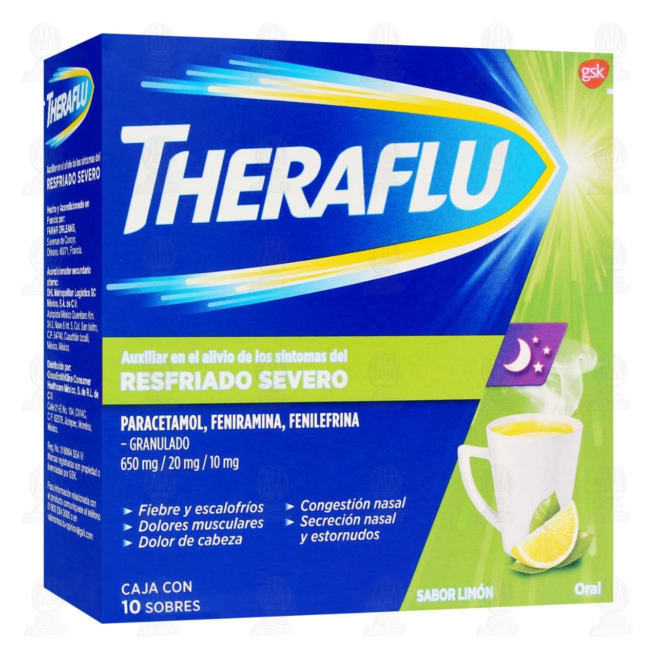 Comprar Theraflu Té Antigripal Resfriado Severo Sabor Limón 10 Sobres en Farmacias Guadalajara