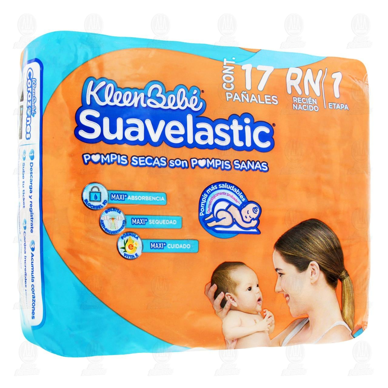 Comprar Pañales para Bebé KleenBebé Suavelastic Max Etapa 1 Talla RN, 17 pzas. en Farmacias Guadalajara