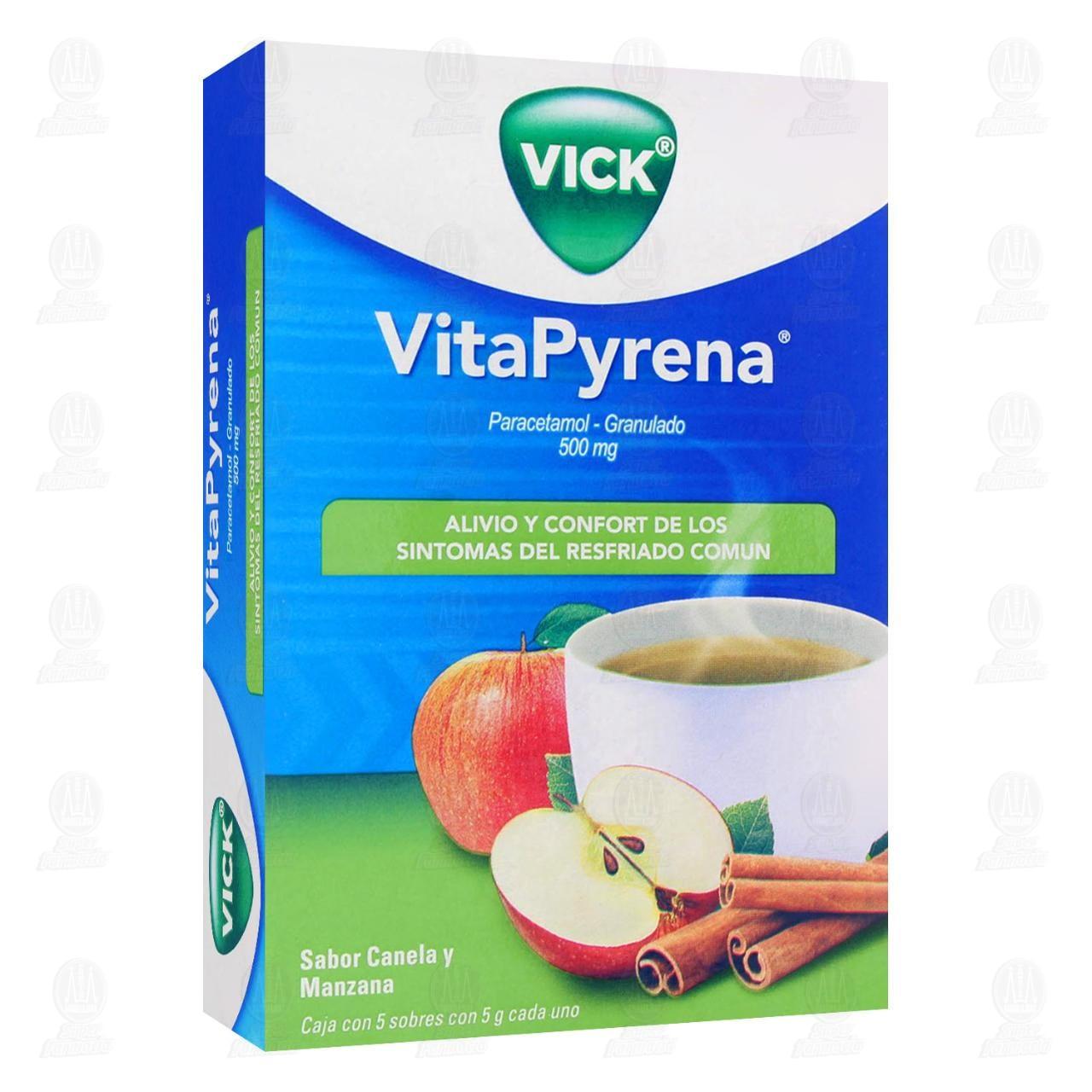 Comprar Vick VitaPyrena Sabor Canela y Manzana 5 Sobres en Farmacias Guadalajara