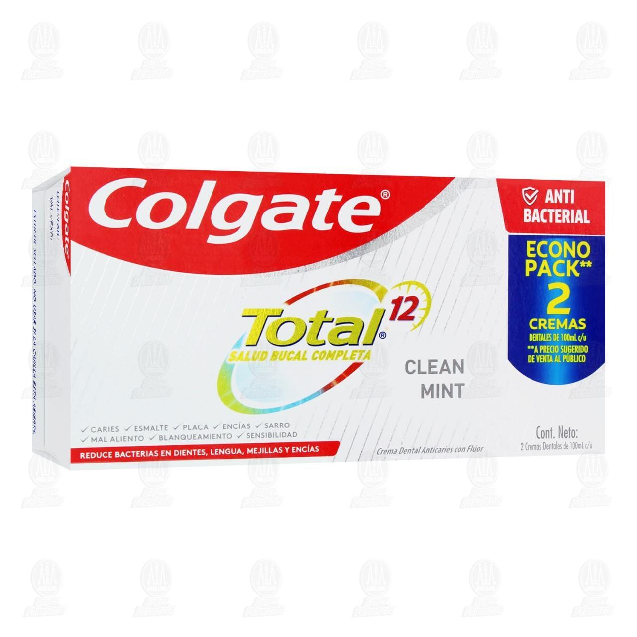 Comprar Pasta Dental Colgate Total 12 Clean Mint, 2 pzas 100 ml. en Farmacias Guadalajara