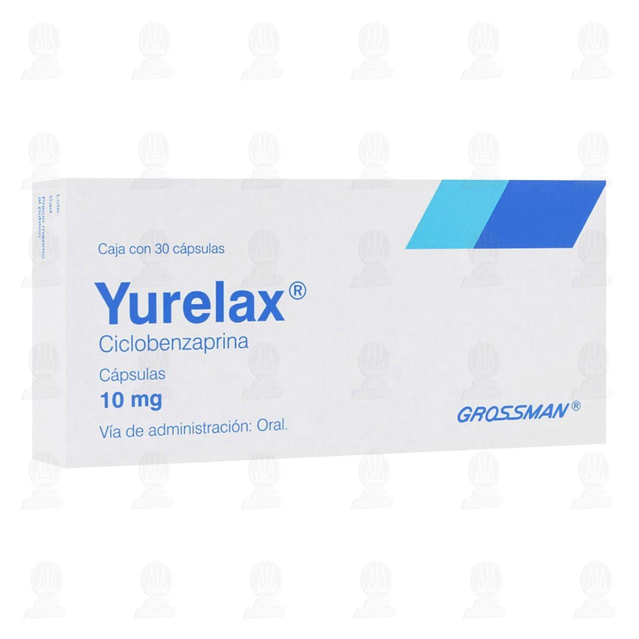 Comprar Yurelax 10mg 30 Cápsulas en Farmacias Guadalajara