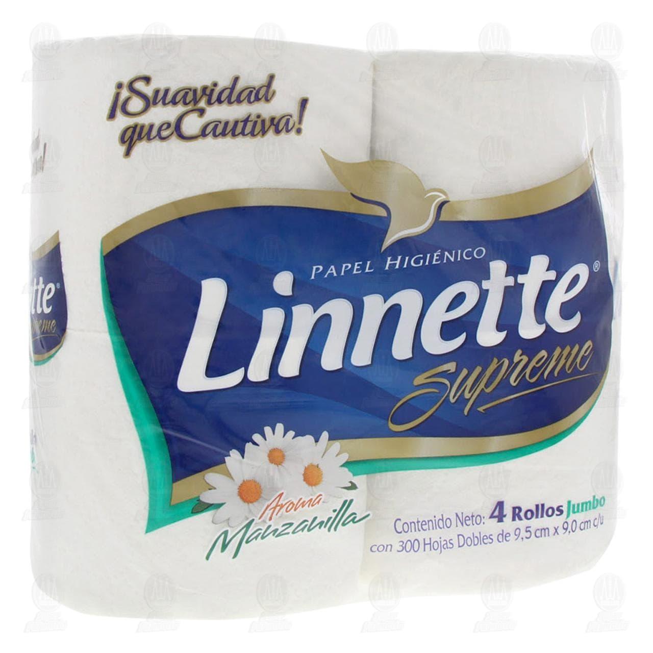 Papel Higiénico Linnette Supreme Aroma Manzanilla, 4 pzas.