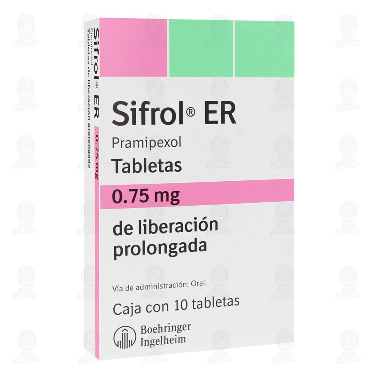 Comprar Sifrol ER 0.75mg 10 Tabletas Liberación Prolongada en Farmacias Guadalajara