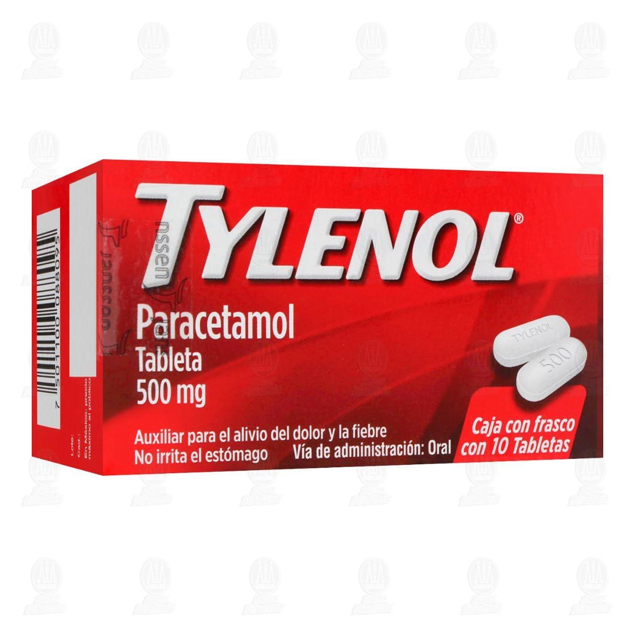 Comprar Tylenol 500mg 10 Tabletas en Farmacias Guadalajara