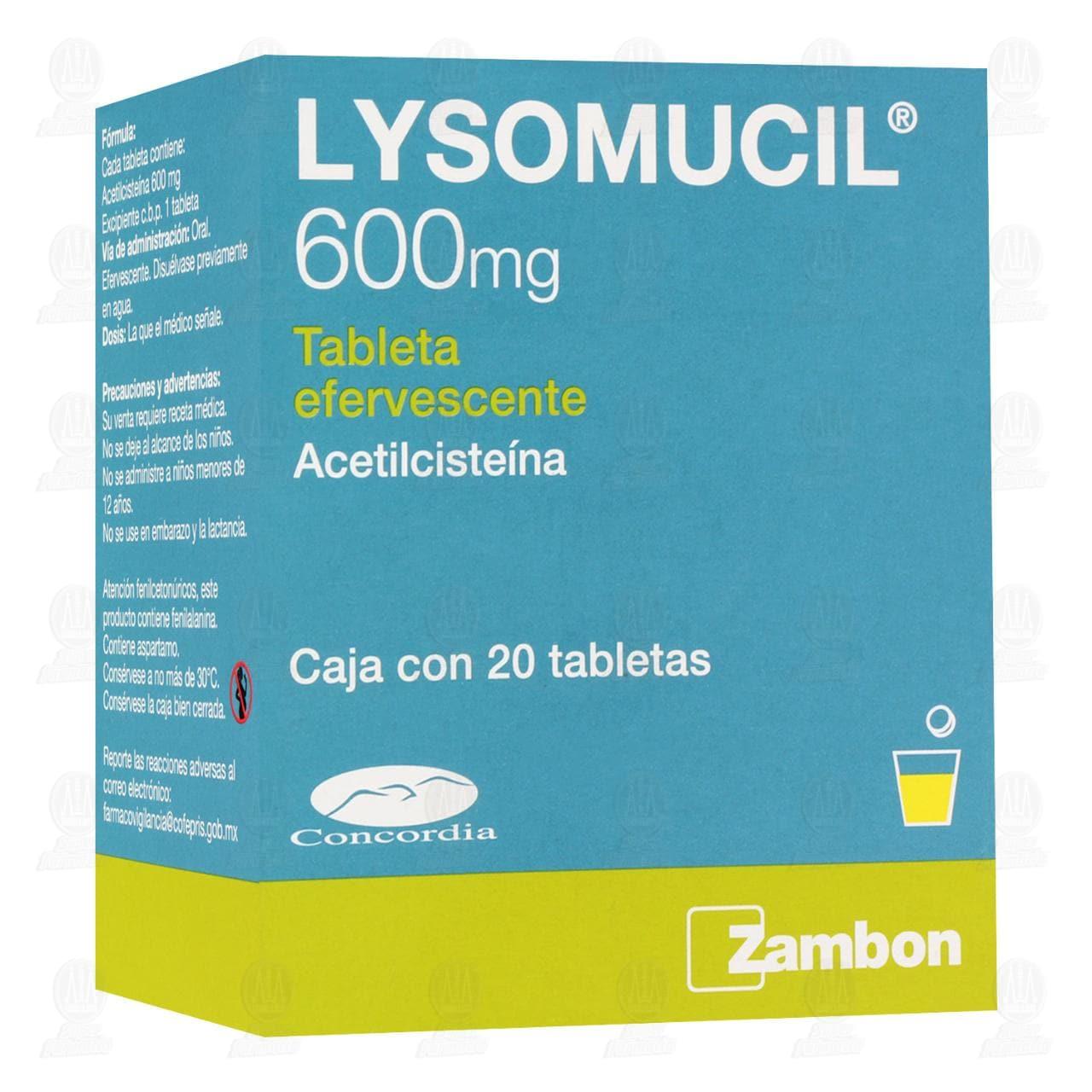 Comprar Lysomucil 600mg 20 Tabletas Efervescentes en Farmacias Guadalajara