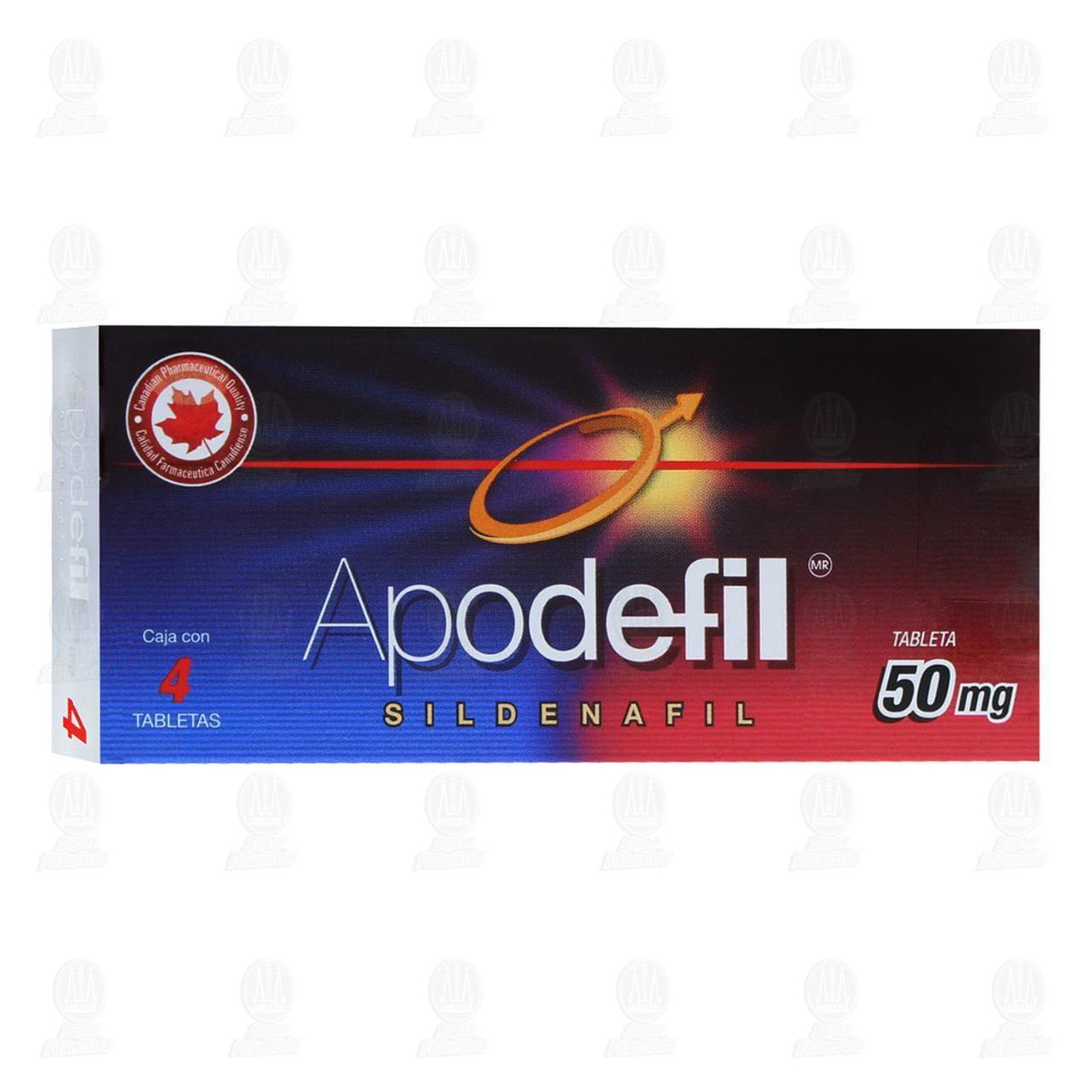 Comprar Apodefil 50mg 4 Tabletas en Farmacias Guadalajara