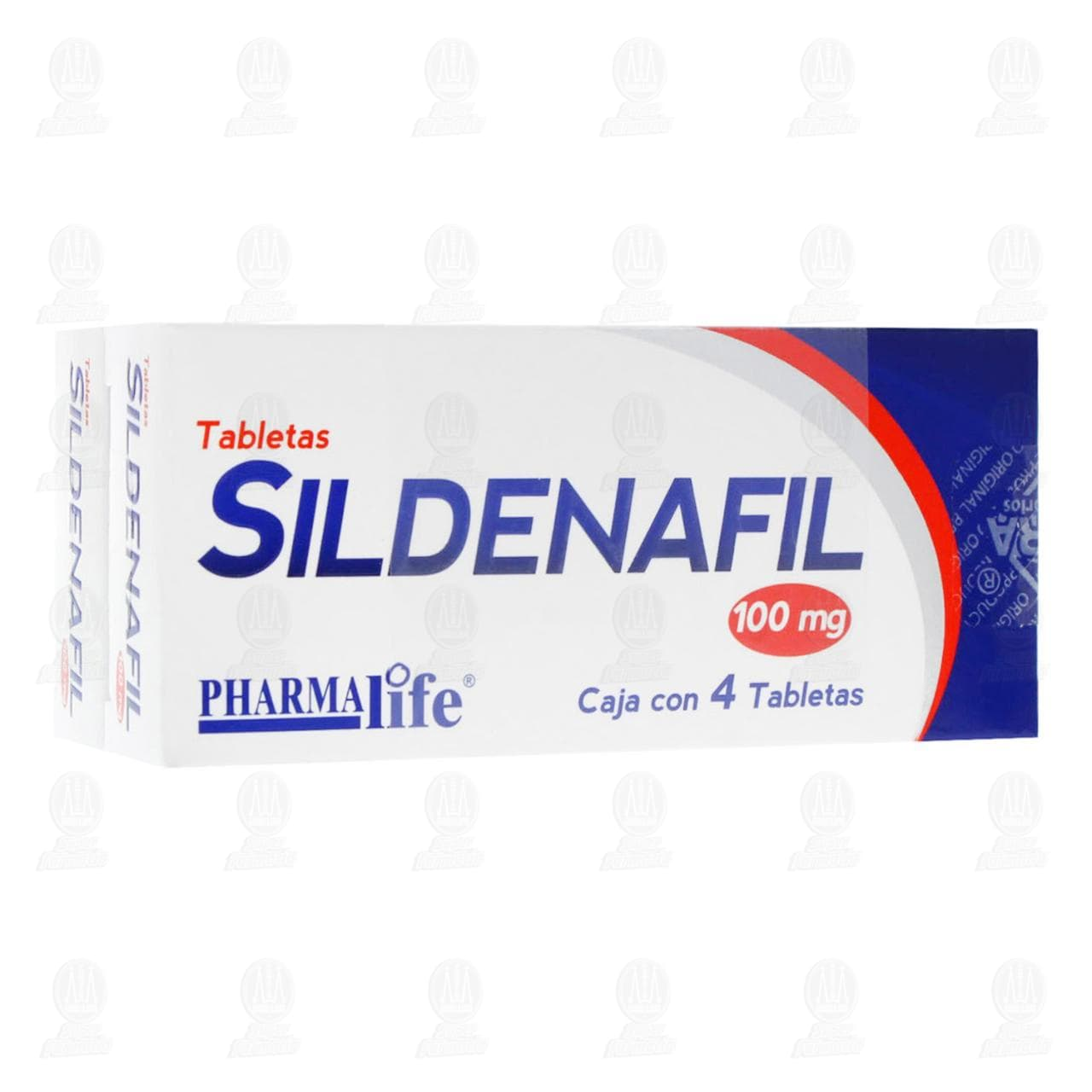 Comprar Sildenafil 100mg 8 Tabletas 2 Cajas de 4 Tabletas c/u Pharmalife en Farmacias Guadalajara