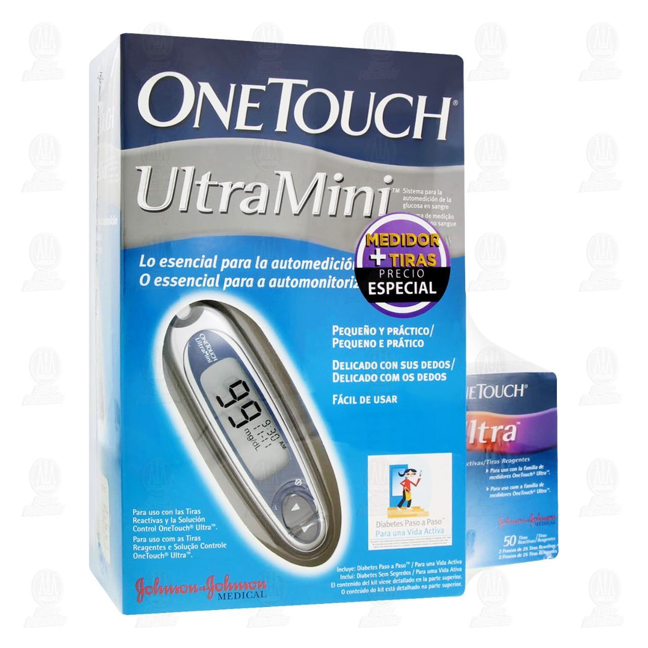 Comprar One Touch Pack Medidor Glucosa Ultra Mini Kit Color Verde + 50 Tiras Ultra Gratis en Farmacias Guadalajara
