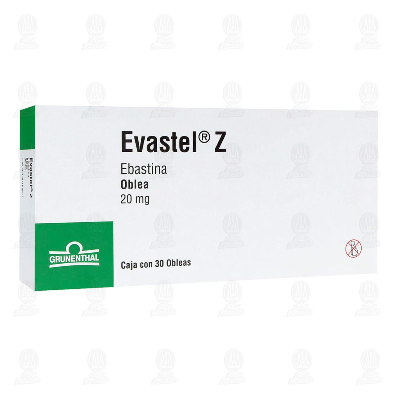 Comprar Evastel Z 20mg 30 Obleas en Farmacias Guadalajara