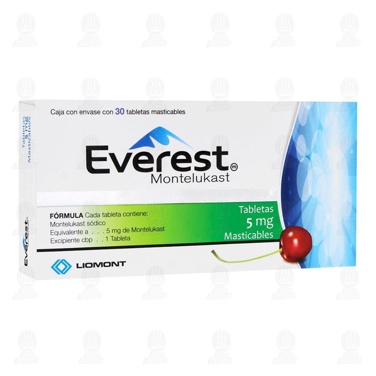 Comprar Everest 5mg 30 Tabletas Masticables en Farmacias Guadalajara