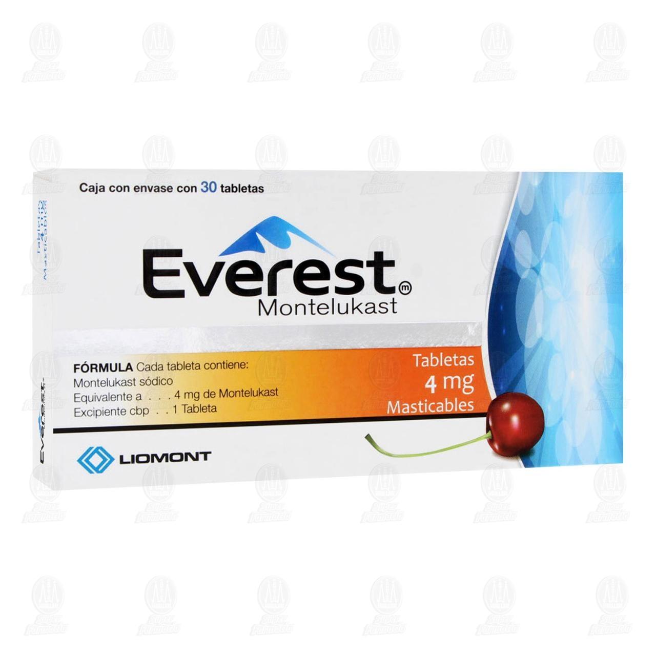Comprar Everest 4mg 30 Tabletas Masticables en Farmacias Guadalajara