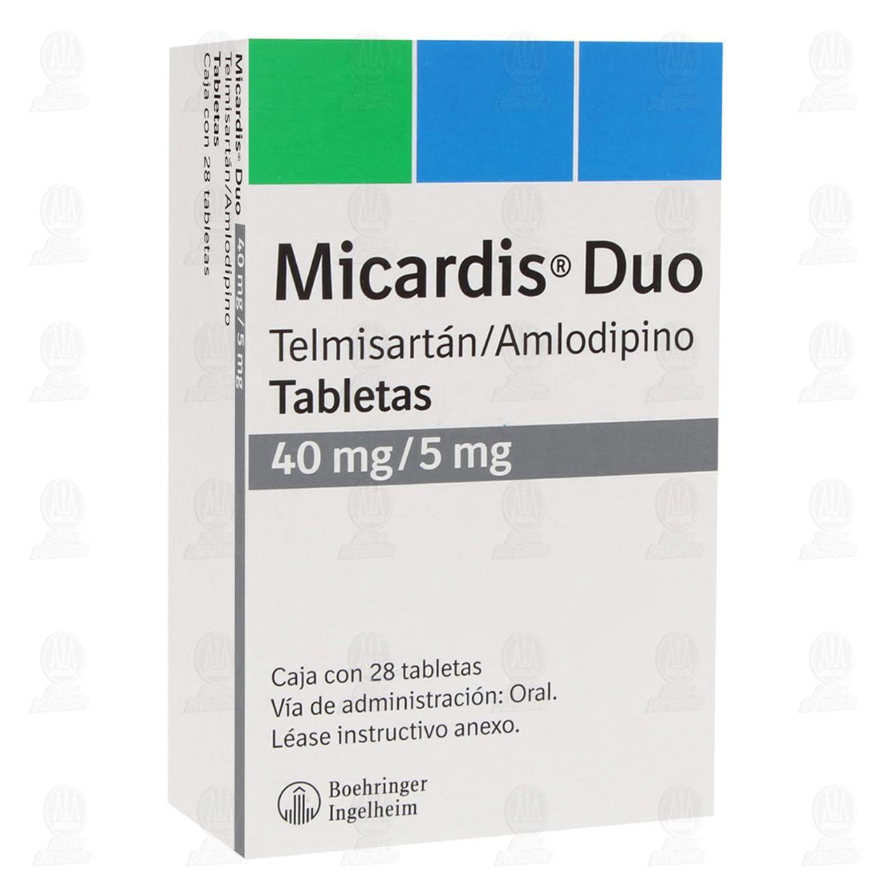 Comprar Micardis Duo 40mg/5mg 28 Tabletas en Farmacias Guadalajara