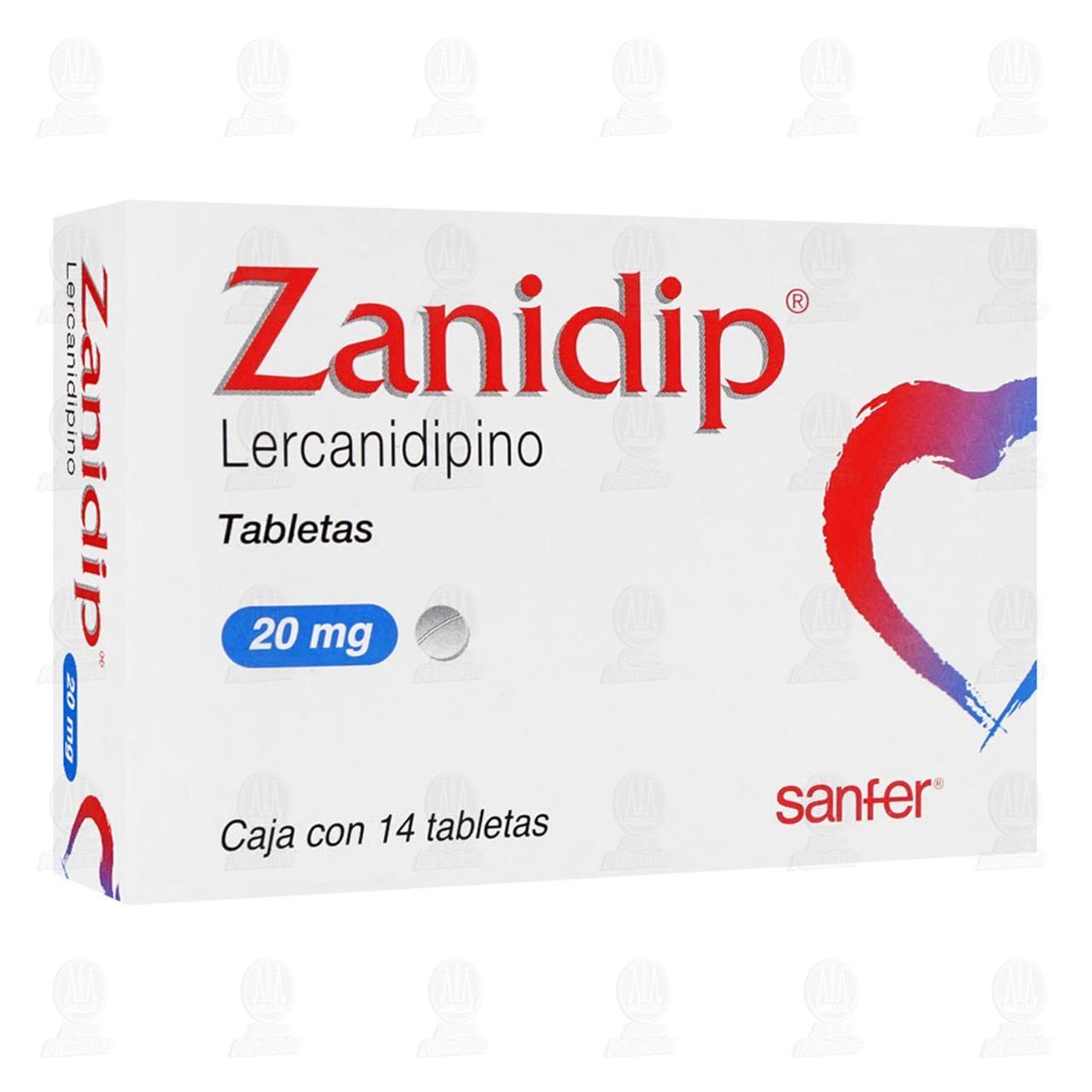 Comprar Zanidip 20mg 14 Tabletas en Farmacias Guadalajara