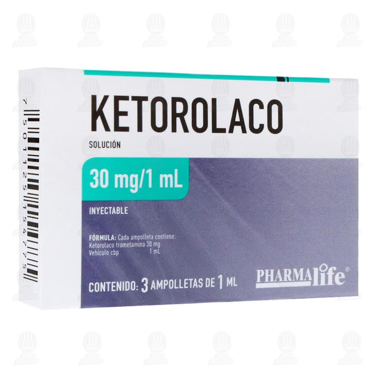 Comprar Ketorolaco 30mg/1ml 3 Ampolletas Pharmalife en Farmacias Guadalajara