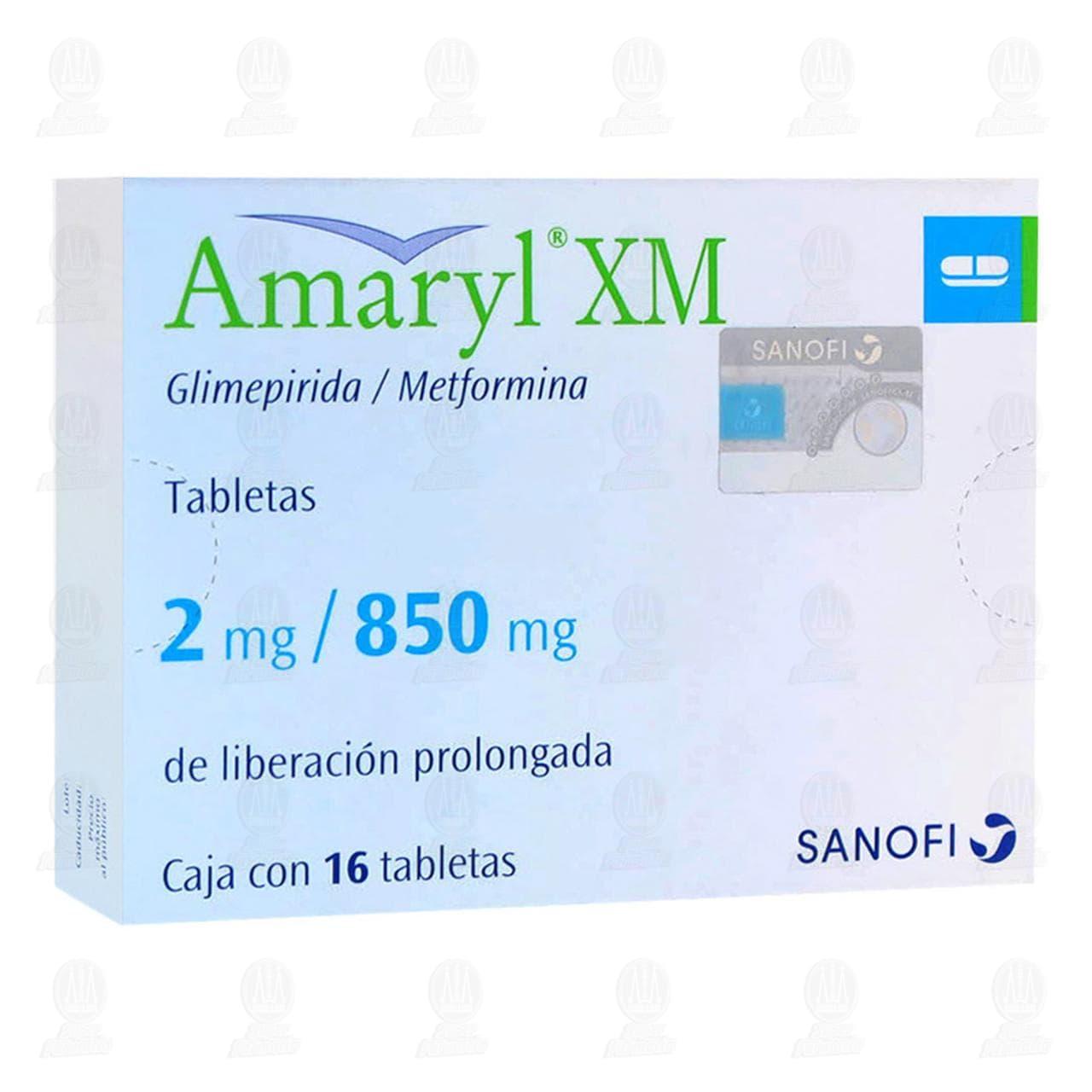 Comprar Amaryl XM 2mg/850mg 16 Tabletas en Farmacias Guadalajara