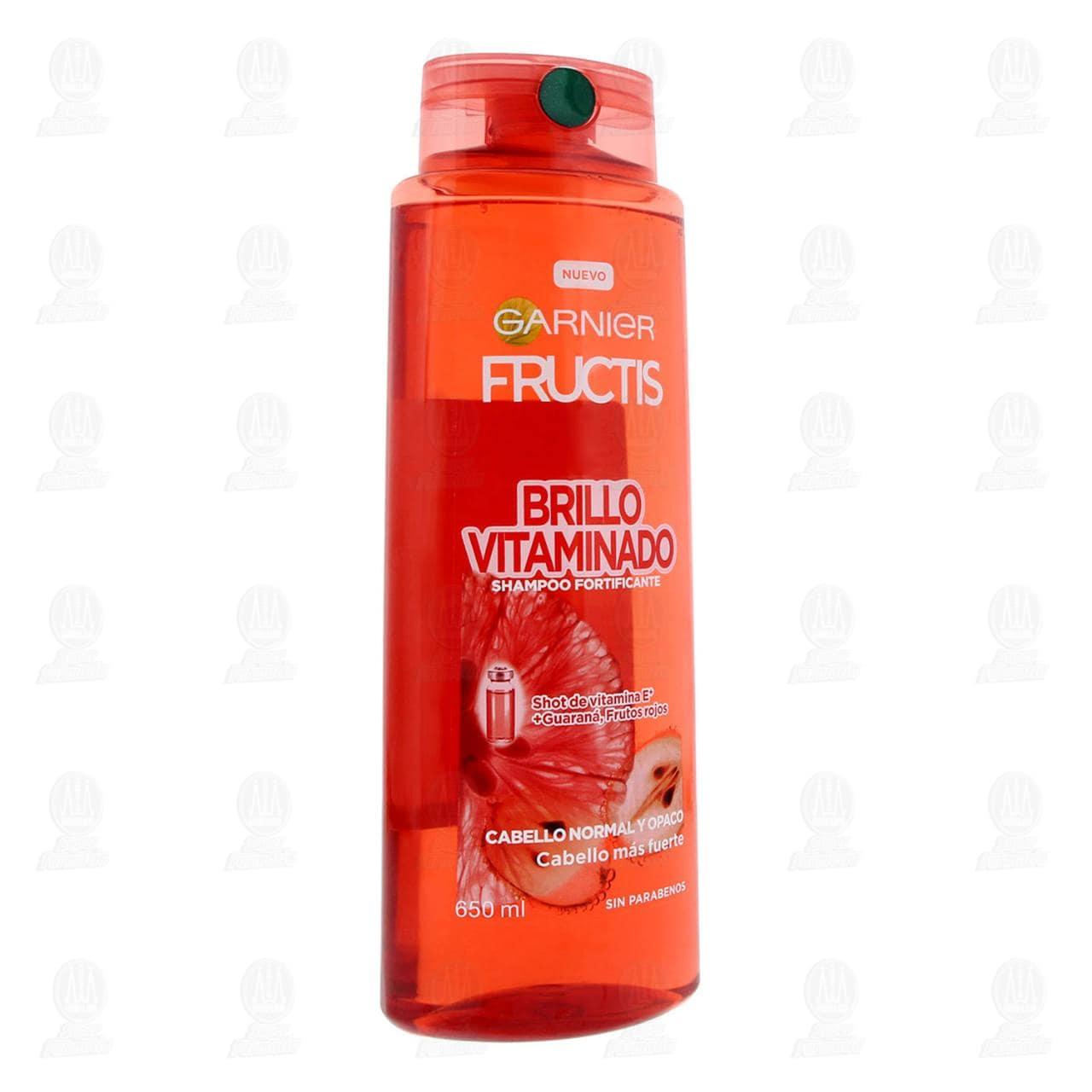 Comprar Shampoo Garnier Fructis Brillo Vitaminado con Shot de Vitamina E + Guaraná, 650 ml. en Farmacias Guadalajara