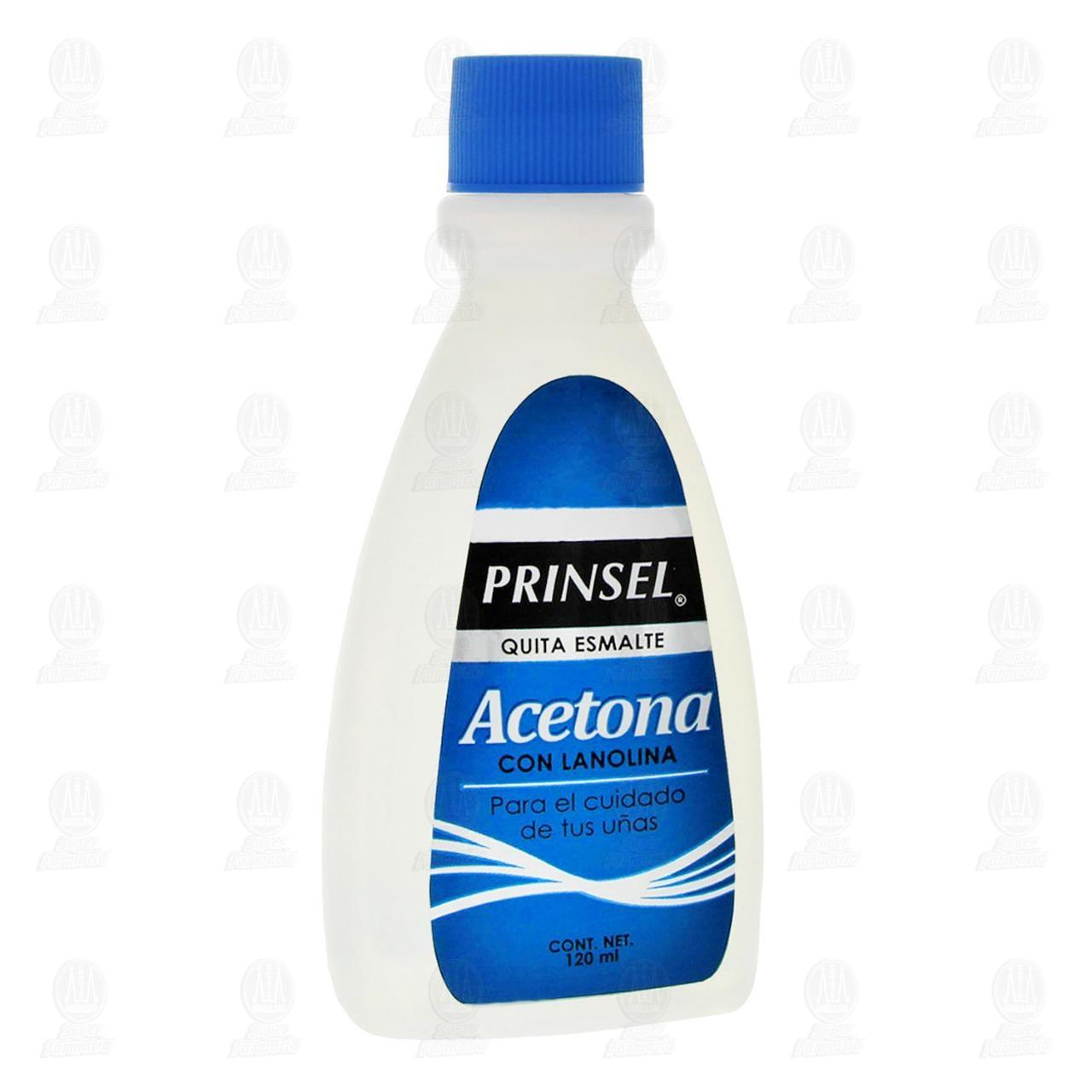 Acetona Prinsel Quita Esmalte con Lanolina, 120 ml.