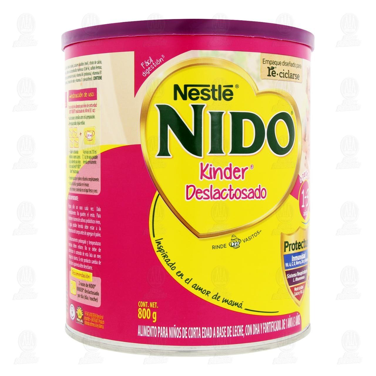 Comprar Producto Lácteo Nestlé Nido Kinder Deslactosado en Polvo (Edad 1-3 Años), 800 gr. en Farmacias Guadalajara