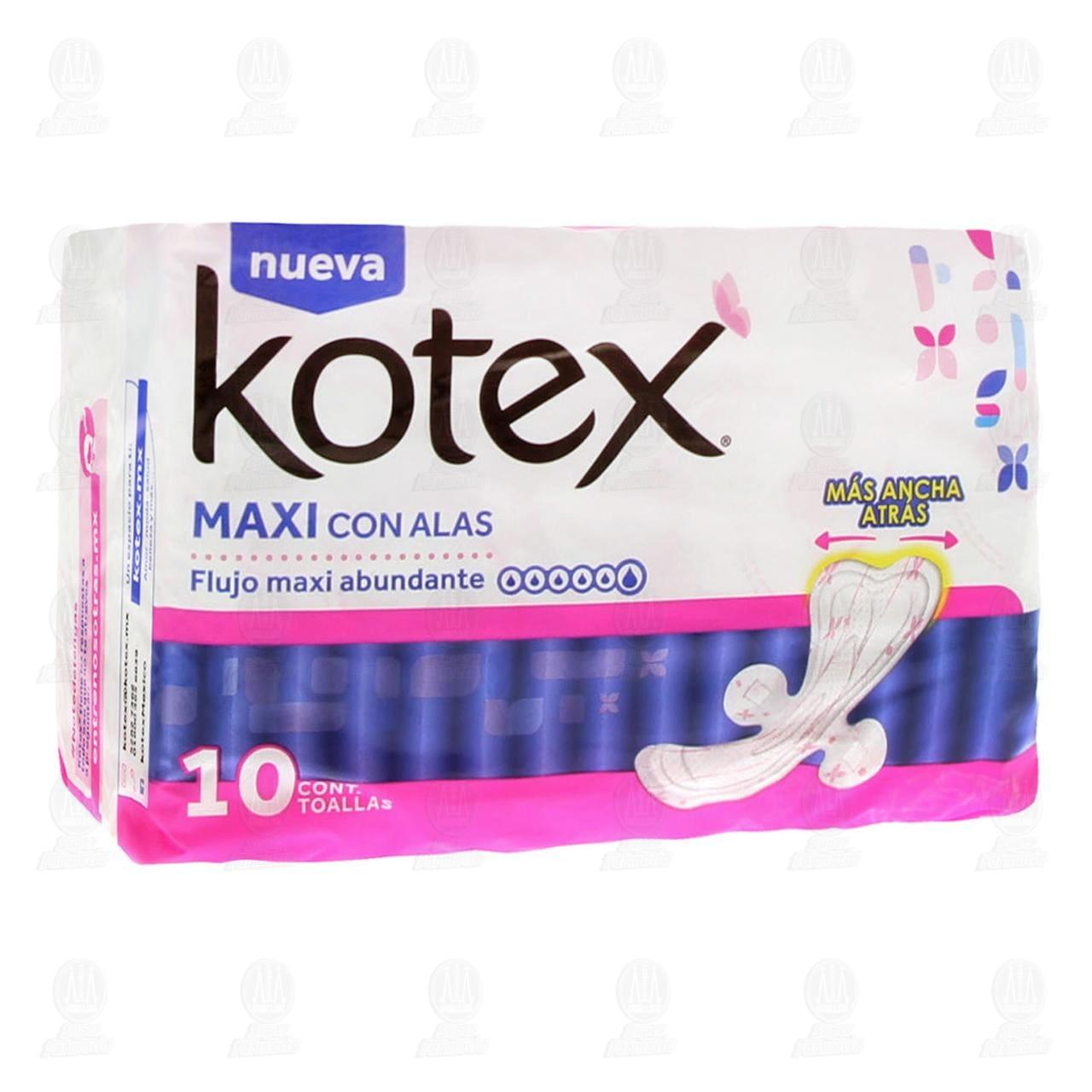 Comprar Kotex Maxi con Alas, 10 pzas. en Farmacias Guadalajara