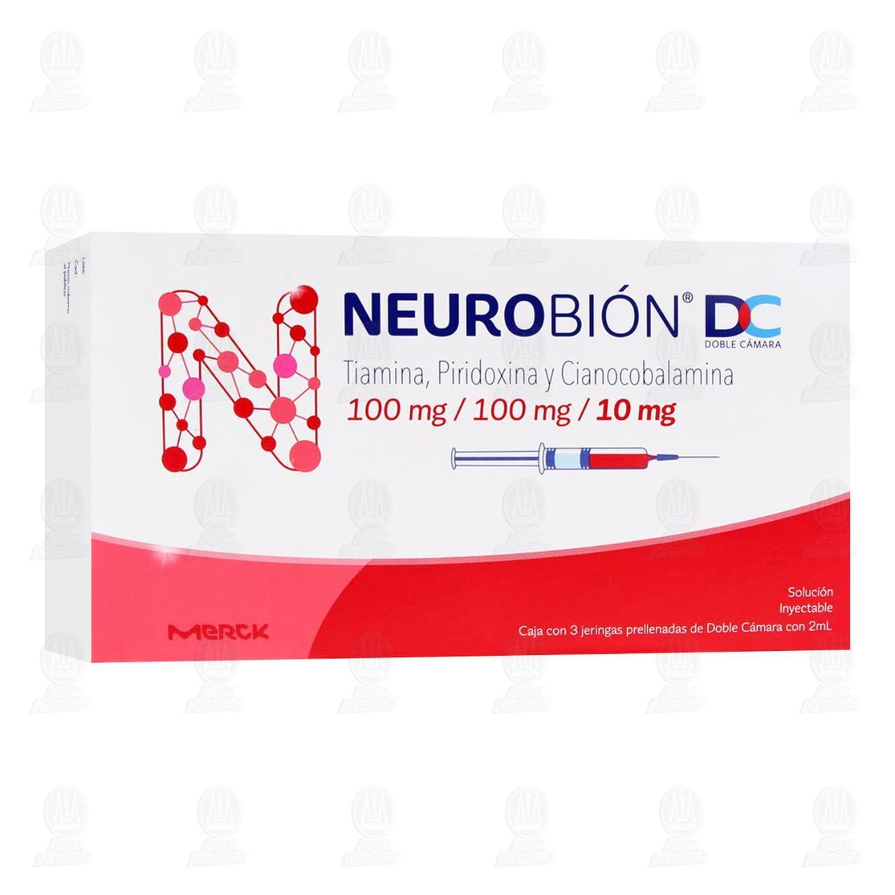Comprar Neurobión 100mg/100mg/10mg con 3 Jeringas Doble Cámara en Farmacias Guadalajara