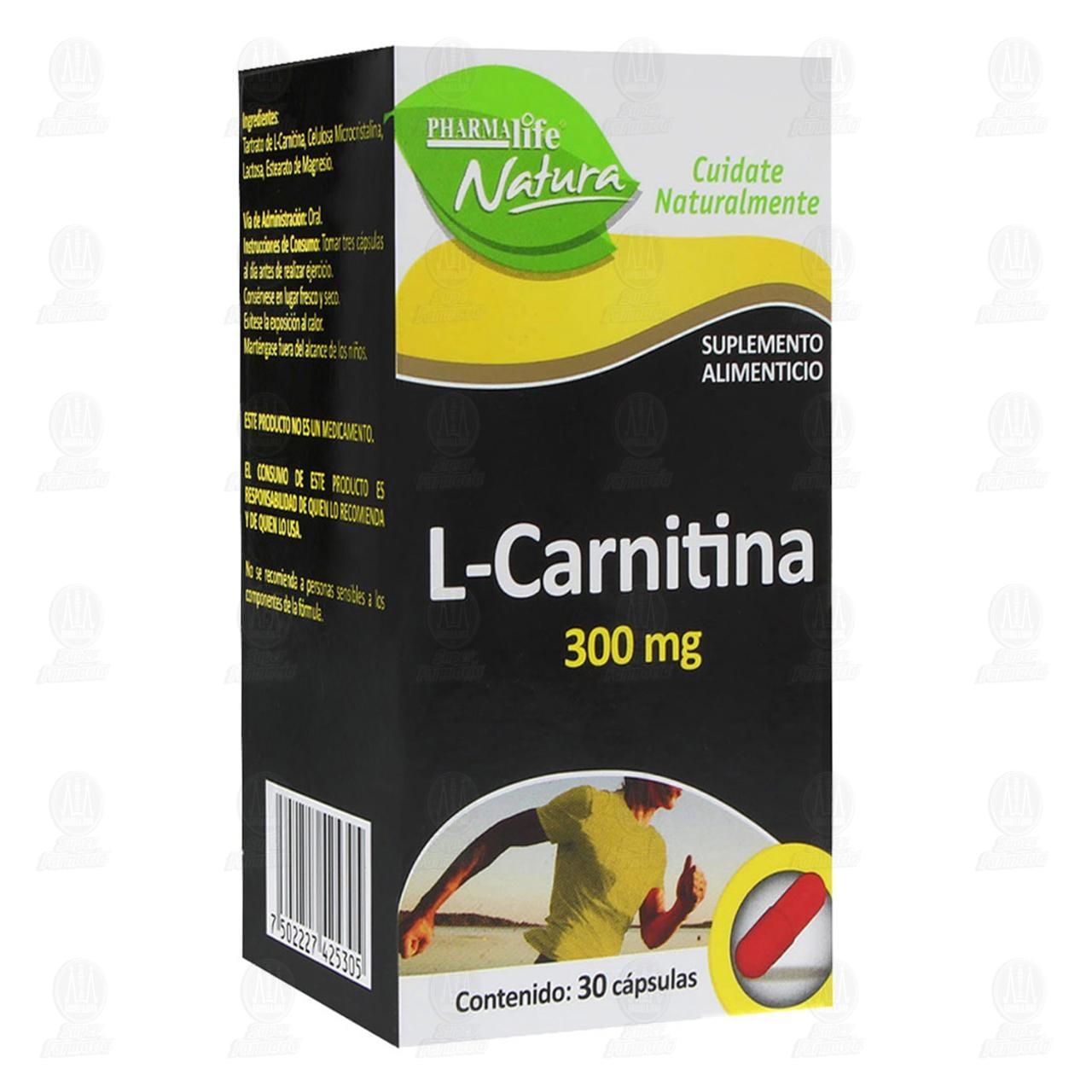 Comprar L-Carnitina 300mg 30 Cápsulas Pharmalife Natura en Farmacias Guadalajara