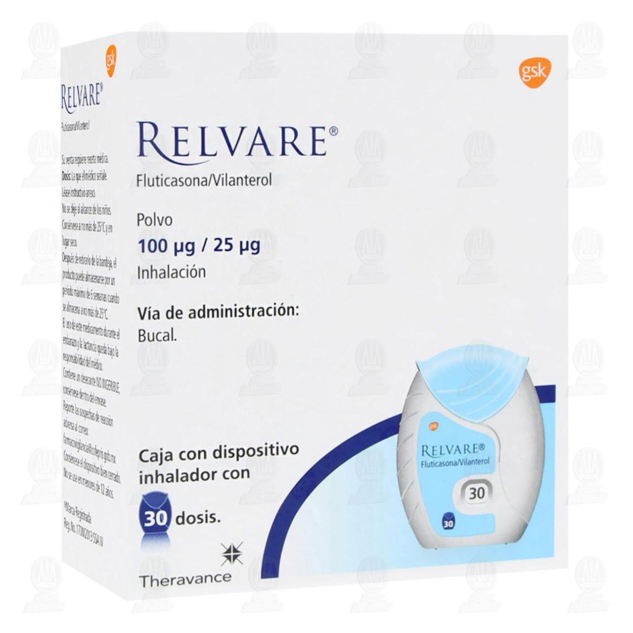 Comprar Relvare Polvo para Inhalación 100mcg/25mcg 30 Dosis en Farmacias Guadalajara