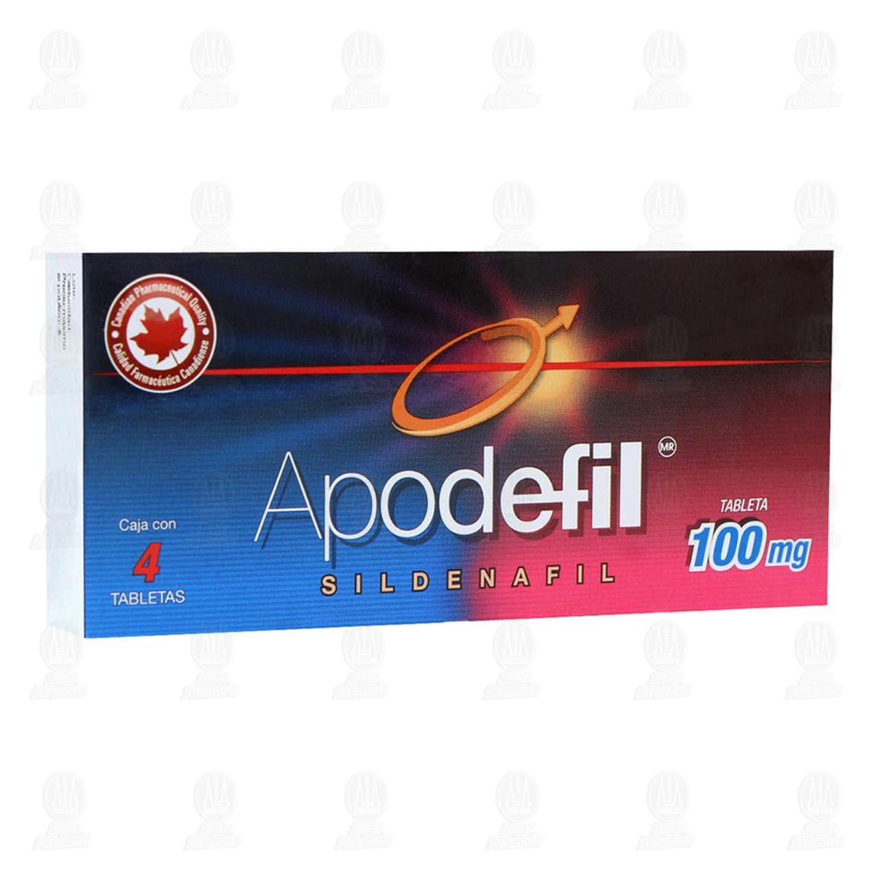 Comprar Apodefil 100mg 4 Tabletas en Farmacias Guadalajara