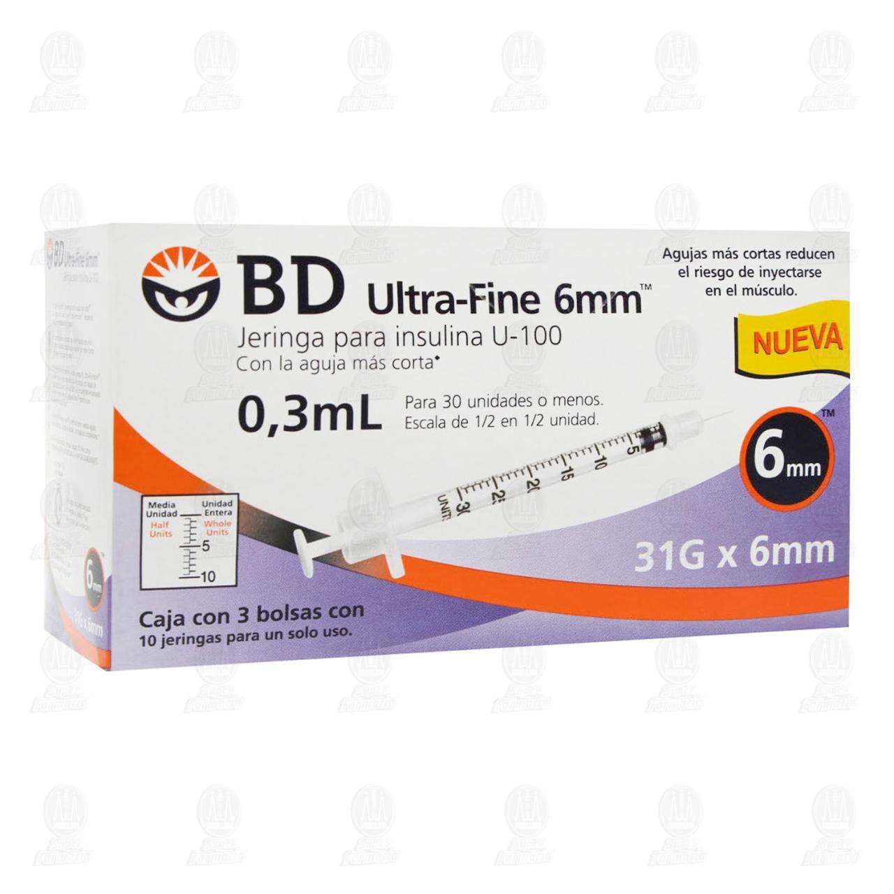 Jeringa BD Ultra Fine Insulina 0.3ml 31G x 6mm 30 Piezas