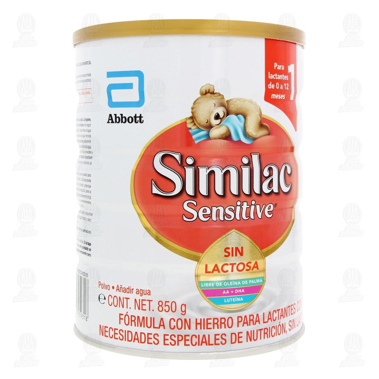 Comprar Fórmula Infantil Similac Sensitive 1 Sin Lactosa en Polvo (Edad 0-12 Meses), 850 gr. en Farmacias Guadalajara