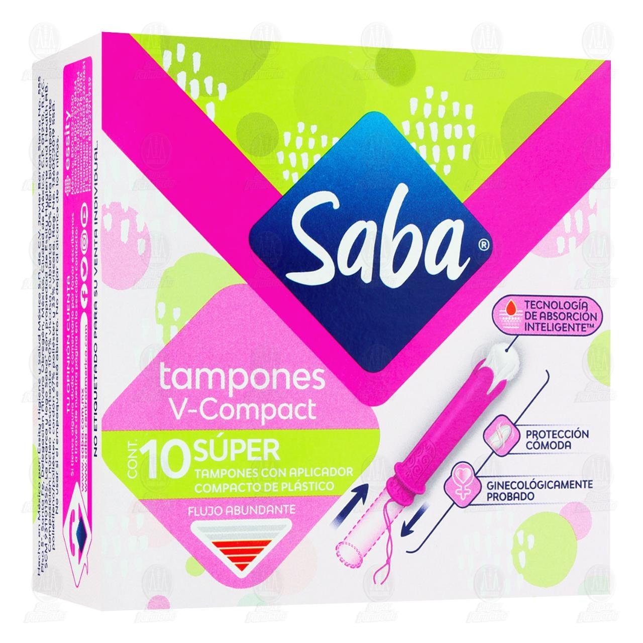 Comprar Tampones Saba Súper con Aplicador Compacto, 10 pzas. en Farmacias Guadalajara