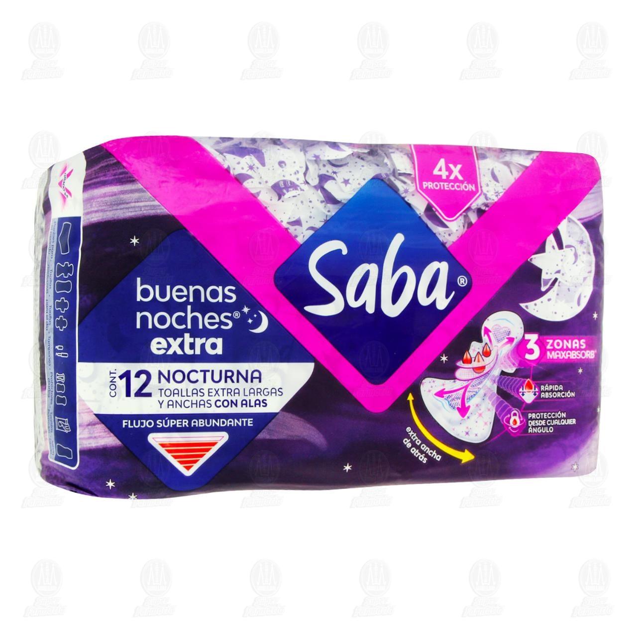 Toallas Sanitarias Saba Buenas Noches Extra Nocturna con Alas, 12 pzas.