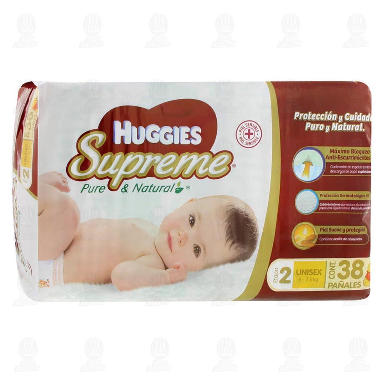 Pañales para Bebé Huggies Supreme Pure & Natural Unisex Etapa 2, 38 pzas.