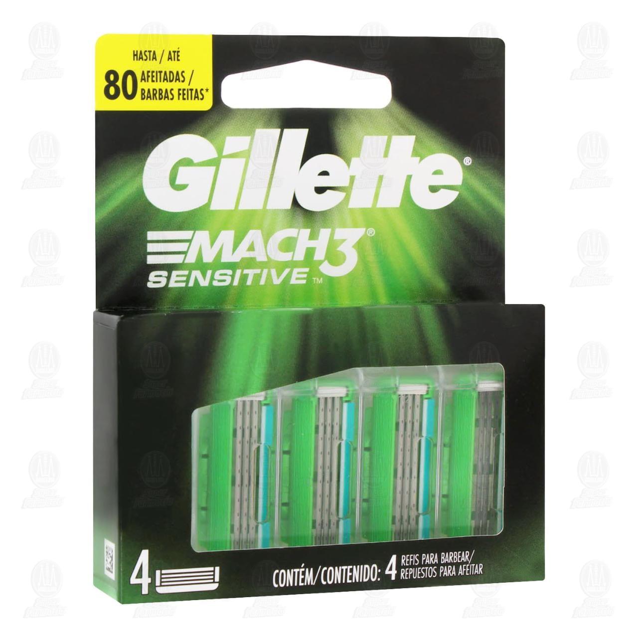 Comprar Cartuchos para Afeitar Gillette Mach3 Sensitive, 4 pzas. en Farmacias Guadalajara