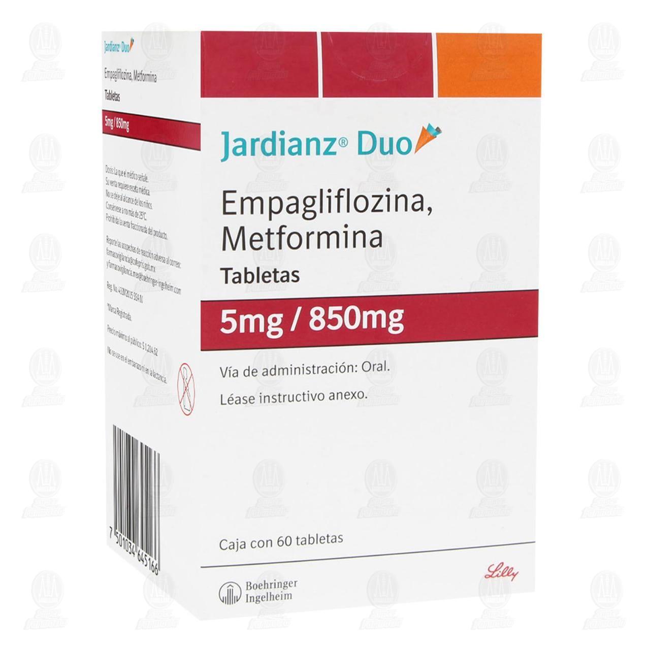 Comprar Jardianz Duo 5mg/850mg 60 Tabletas en Farmacias Guadalajara