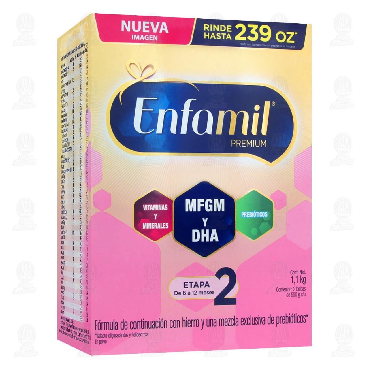 Comprar Fórmula Infantil Enfamil Premium Etapa 2, 6 a 12 Meses, 1.1 kg. en Farmacias Guadalajara