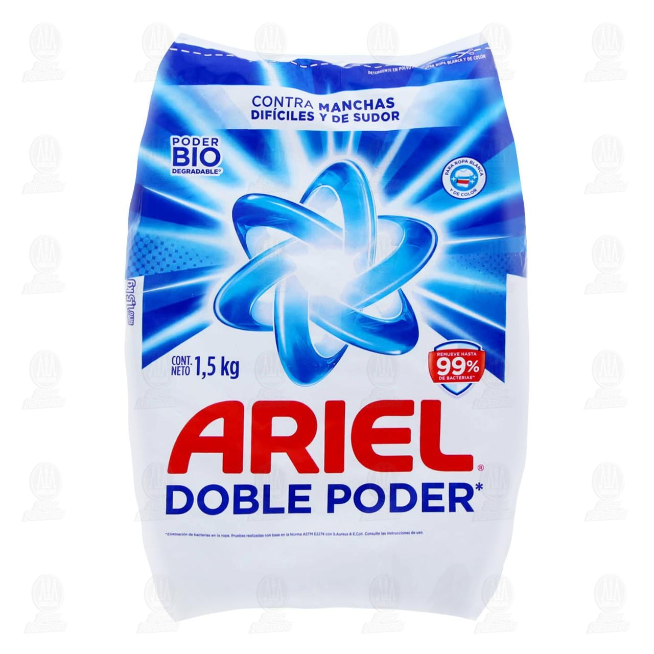 Detergente en Polvo Ariel Doble Poder 1,5 kg.