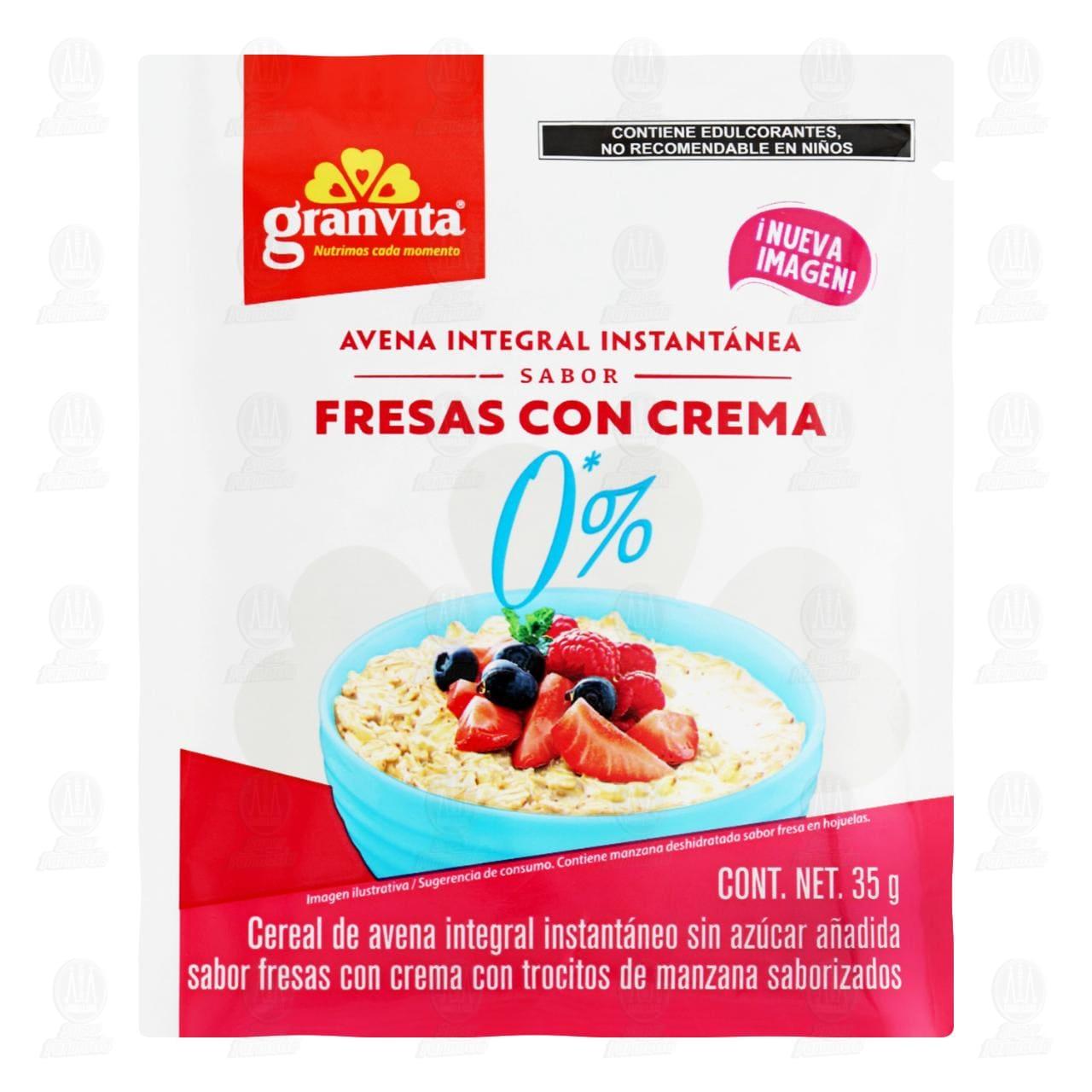 Avena Instantánea Granvita Integral con Trocitos de Fruta, 35 gr.
