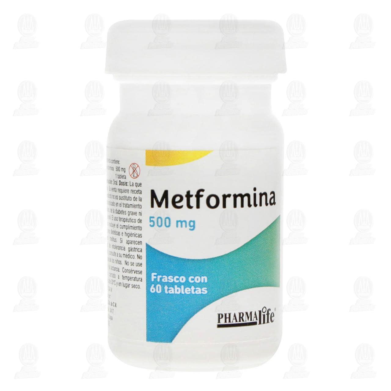Comprar Metformina 500mg 60 Tabletas Frasco Pharmalife en Farmacias Guadalajara